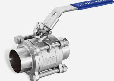 "China Two Way SS Ball Valve Sanitary Grade 1"" X0.065 Welded Ends , ISO9001 Approved supplier"