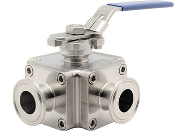 China Cross Sanitary Stainless Steel Ball Valves , 1 Inch 4 Way Ball Valve For Cosmetic supplier