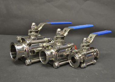 AISI 304 316L Sanitary Tri Clamp Ball Valves With Full Port Ends , Manual Type