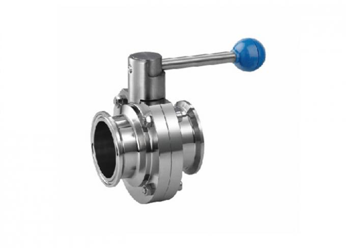 "3/4""X1.65mm 316 Stainless Steel Sanitary Valves , Hygienic Butterfly Valves"